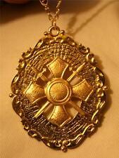 Stunning Scalloped Rim Maltese Cross Crossed Swords Goldtone Pendant Necklace