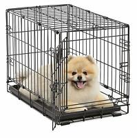 Folding Crate Pet Crates Dog Cage Single Door Medium Size 22In W/ Divider Kennel