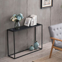 Minilalist Porch Table Console Table Marble Aboards Panel Metal Legs Rectangle