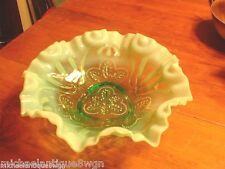 Antique Victorian Green Opalescent Bowl By Jefferson Glass Co In Meander Pattern