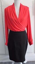 NEW NO TAGS Size M MANGO Dress Orange and Black Chiffon Top Wiggle Skirt (250)