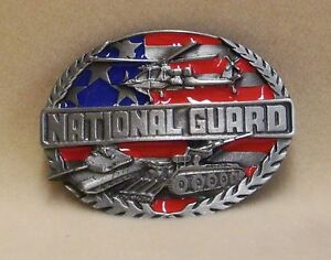 United States National Guard Belt Buckle Helicopter, Tank, Stars and Stripes