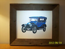 Antique Automobile Print in BARN WOOD Frame Early Phaeton Car Packard? Buick?