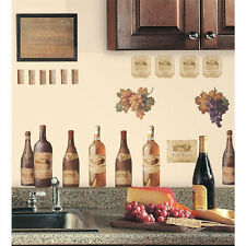 WINE TASTING wall stickers 56 decals bottle labels cork den bar kitchen grapes