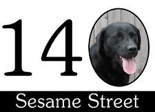 Wheelie bin stickers . Black Labrador design.Street/House number. 160x110mm. x4