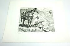 """VINTAGE R H PALENSKE ETCHING TITLED: OUR COUNTRY 12"""" X 16"""" COWBOY WESTERN THEMED"""