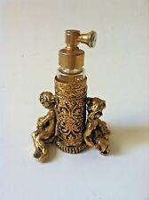 Perfume bottle 1920s Neo Classical Gold Cupid Ornate Filigree rare!
