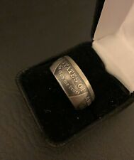 """1921 morgan Silver Dollar Coin Ring US size 12 1/2 Tails Out """"In God We Trust"""""""