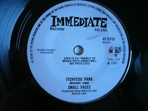 """The Small Faces Itchycoo Park 7"""" Vinyl UK 1967 Immediate 1st Press 1F/2F Single"""