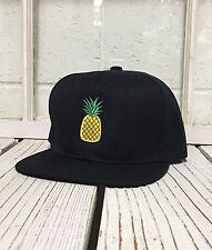 Hip PINEAPPLE Embroidered Flat Bill Snapback Hat Black/Black