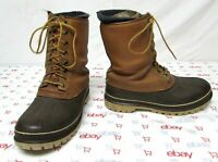 Sorel men's size 8 wool lined duck boots brown leather