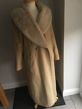 Marks & Spencer Ladies Beige Extra Long Wool Mix Coat Size 8. Great Condition.