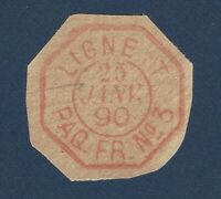 1890 FRANCE HANDSTAMP OCTAGON SHAPED LIGNE T. PAQ. FR. NO. 3 POSTMARK, VERY RARE
