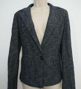 Episode Navy Wool & Cotton Blend Blazer Jacket Size 6 8 Pockets