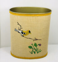 Vintage J L Clark Trash Can Rockford ILL USA Gold Finch hand painted, canister