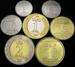 SAUDI ARABIA 1 Halala / 2 Riyals 2016 (AH 1438) - Lot of 7 Coins - UNC *