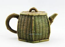 CHINESE YIXING ZISHA CLAY ARTISTIC LIGHT-BROWN BAMBOO BASKET TEAPOT & COVER # 6