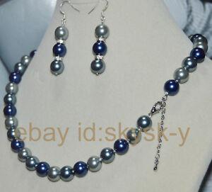 Beautiful 8mm Multicolor South Sea Shell Pearl Necklace Earrings Set AAA++