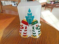 "Partylite 5"" Snowmen Ceramic Pillar 3"" Candle Holder Retired P0476 Original Box"