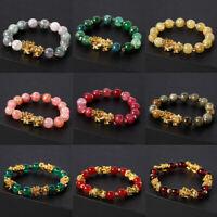 Feng Shui Black Obsidian Bead PiXiu Bracelet Attract Wealth Good Luck Jewelry