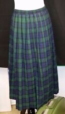 EXC Vintage Womens JANTZEN Tartan Plaid Long Pleated Skirt Medium Elastic Waist