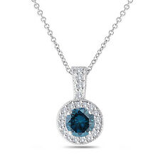 Platinum Enhanced Fancy Blue Diamond Pendant Necklace 1.23 Ct Halo Pave Handmade