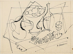 Gino Severini. Futurism/Cubism. Original Ink Drawing on paper. Hand Signed.