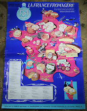 Fromage Affiche - Vintage Original French Cheese Ad Poster Map France Lambert