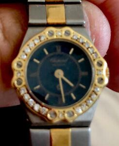 "Chopard  St Moritz  Ladies ""Mini"" Diamond     18k YG & SS Watch. Navy Blue Dial."
