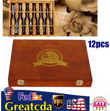 12Pcs Wood Carving Chisels Gouges Set Pro Woodworking Carving Hand Tools Kit