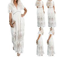 Womens Boho V Neck Lace Maxi Dress Ladies Summer Holiday Beach Party Long Dress