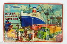 Vintage Page London Water color Paint Box Tin Litho Paint Set Cruise Ship Docks
