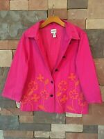 Chicos Jacket Hot Pink Cotton Floral Applique Embroidery Lined Button sz 3 WR21