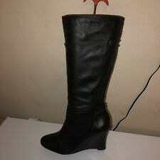 FIORE SOFT LEATHER ZIP UP WEDGE LONG BOOTS - UK 7