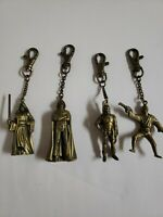 Vintage Star Wars Brass Key Chains (4) Luke Obi-Wan Darth Vader Bobba Fett EUC