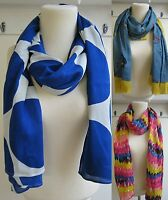 BODEN LIGHTWEIGHT SCARF COVER UP SARONG  2 PRINTS, BLUE SPOT- MULTI FEATHER NEW!
