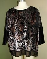 Chico's Blouse Size 2 Large 12 14 Women's Velour Long Sleeve Shirt Top O52
