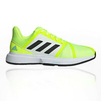 adidas Mens CourtJam Bounce Tennis Shoes White Yellow Sports Breathable