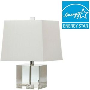Table Lamp 19 in. Metal Crystal Clear Base with Rectangular Off-White Shade