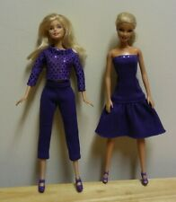 "11 1/2"" Doll Clothing Sparkle Purple Top, Leggings & Strapless Dress"