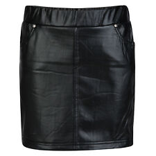 GIRLS SKIRT LEATHER LOOK BLACK WET LOOK SKIRTS 4-12 YEARS BNWT