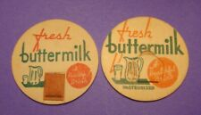 2 GENERIC 1 5/8s BUTTERMILK W/GLASS & PITCHER DAIRY,FARM MILK BOTTLE CAPS #1
