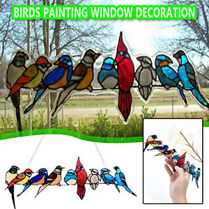 Stained Glass Birds Window Panel Tiffany Style Hanging Sun Catcher w/Chain