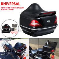 Motorcycle Black Top Box Rear Luggage Case Taillight For Honda Yamaha Suzuki