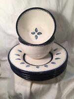 Pottery Barn Tiburon 4 Pasta Plates/Bowls & 2 Cereal Bowls Blue And White 6 Pcs