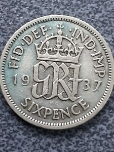 1937  George VI  silver Sixpence -