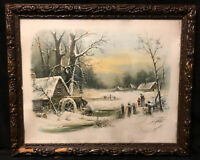 Antique Victorian Wood Gesso Frame Chandler Lithograph1895 Wavy Glass Muller