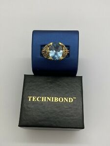 Gold Over Sterling Silver Simulated Aquamarine Floral Ring Ruby Accent SZ 10