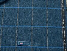 100% WOOL TWEED FABRIC, MIX BLUE/DARK BLUE-GREY WINDOWPANE/HB -MADE IN BRIT 2.6M