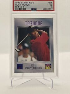 1996 Sports Illustrated for Kids Rookie Card Tiger Woods PSA 3 RC looks 5 📈